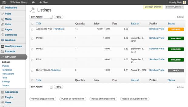 Wordpress Lister for eBay